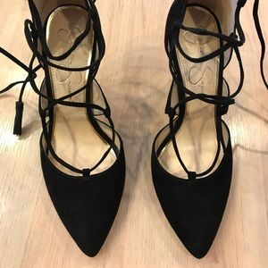 Jessica Simpson Black Tie Up pointed heels Sz 6.5